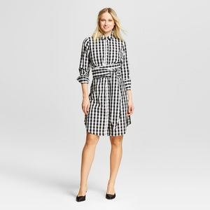 Who What Wear Gingham Waist Tie Belted Shirtdress